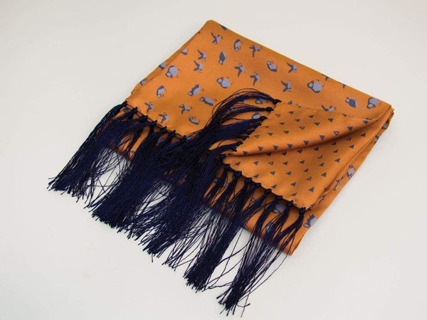 PUFFINS PRINTED SILK FRINGED SCARF