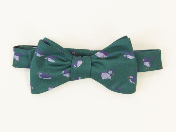 Puffins Printed Silk Butterfly Bow Tie