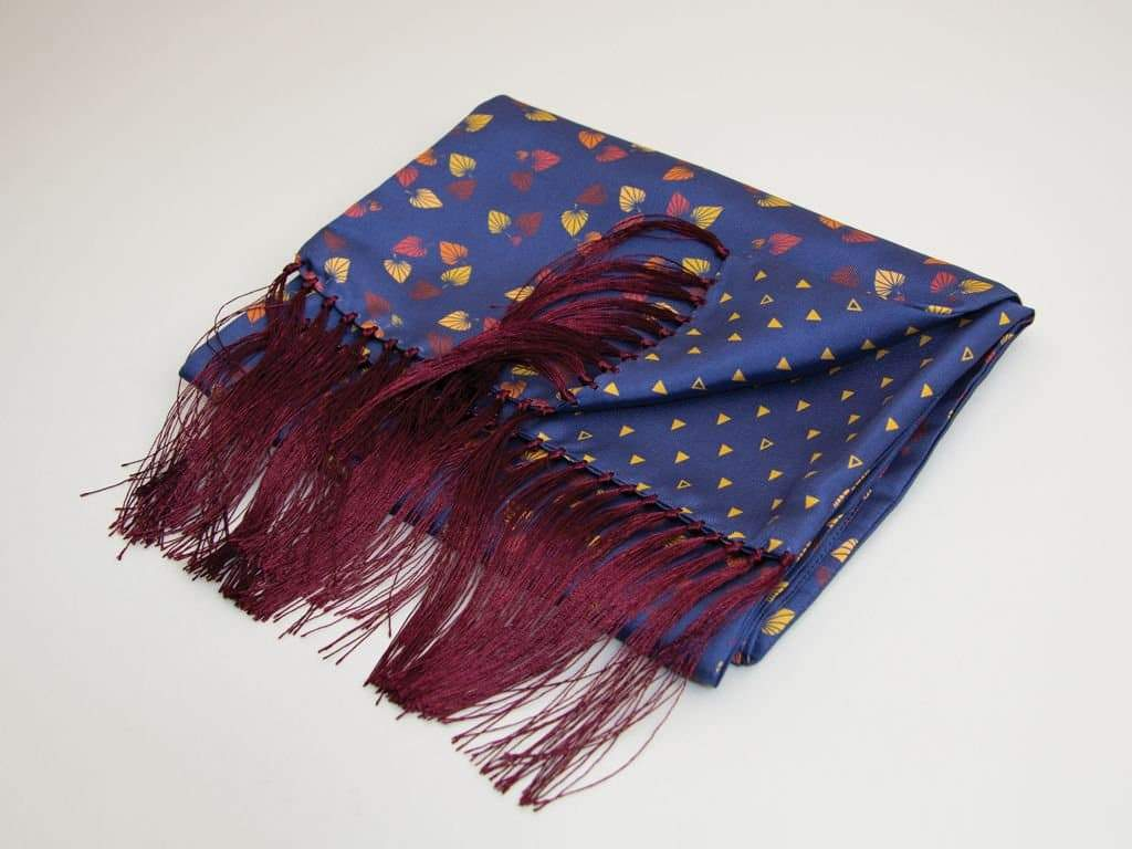 BIRCH PRINTED SILK FRINGED SCARF