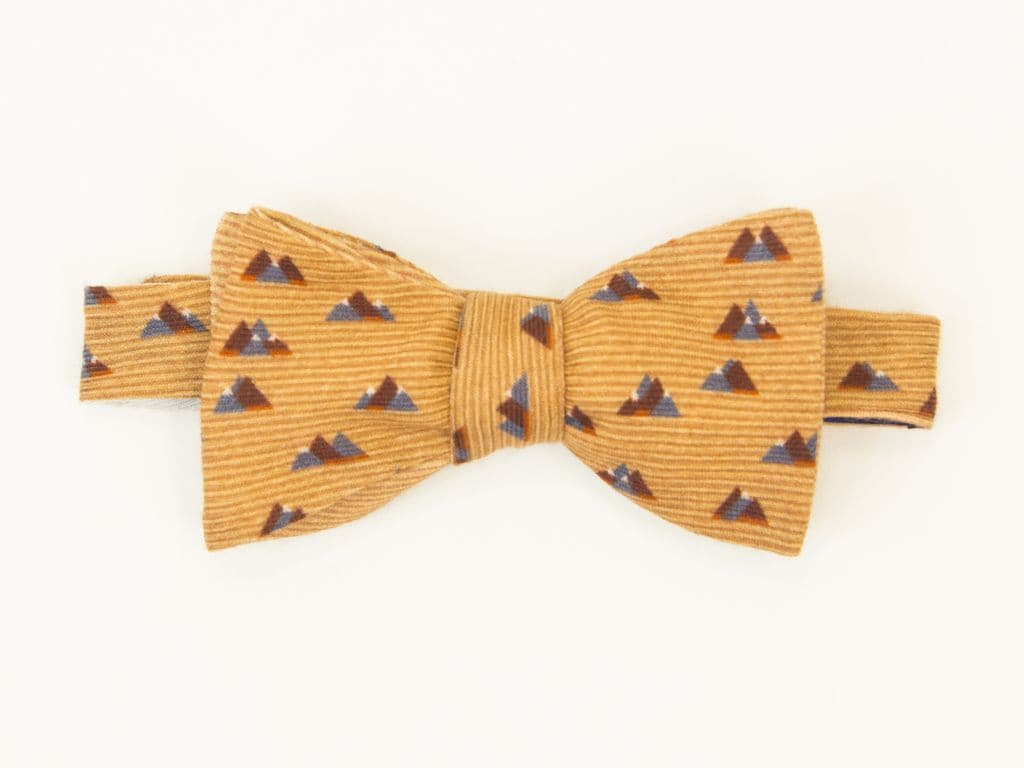 Peaks Printed Wool & Silk Butterfly Bow Tie