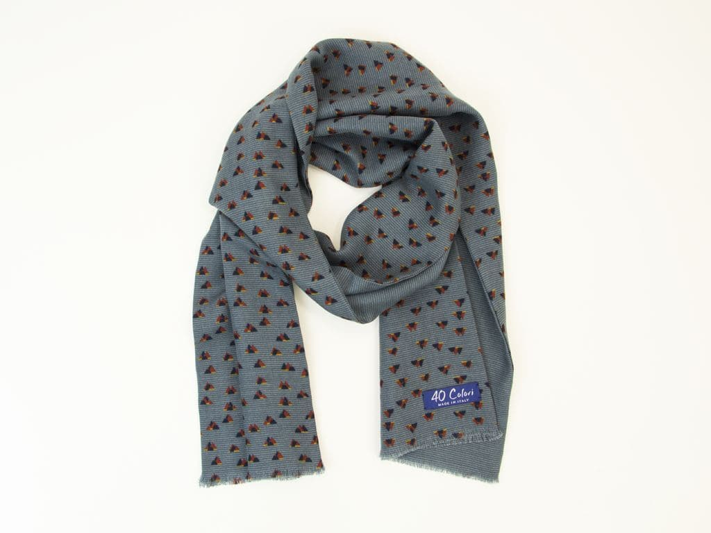 PEAKS PRINTED WOOL AND SILK SCARF