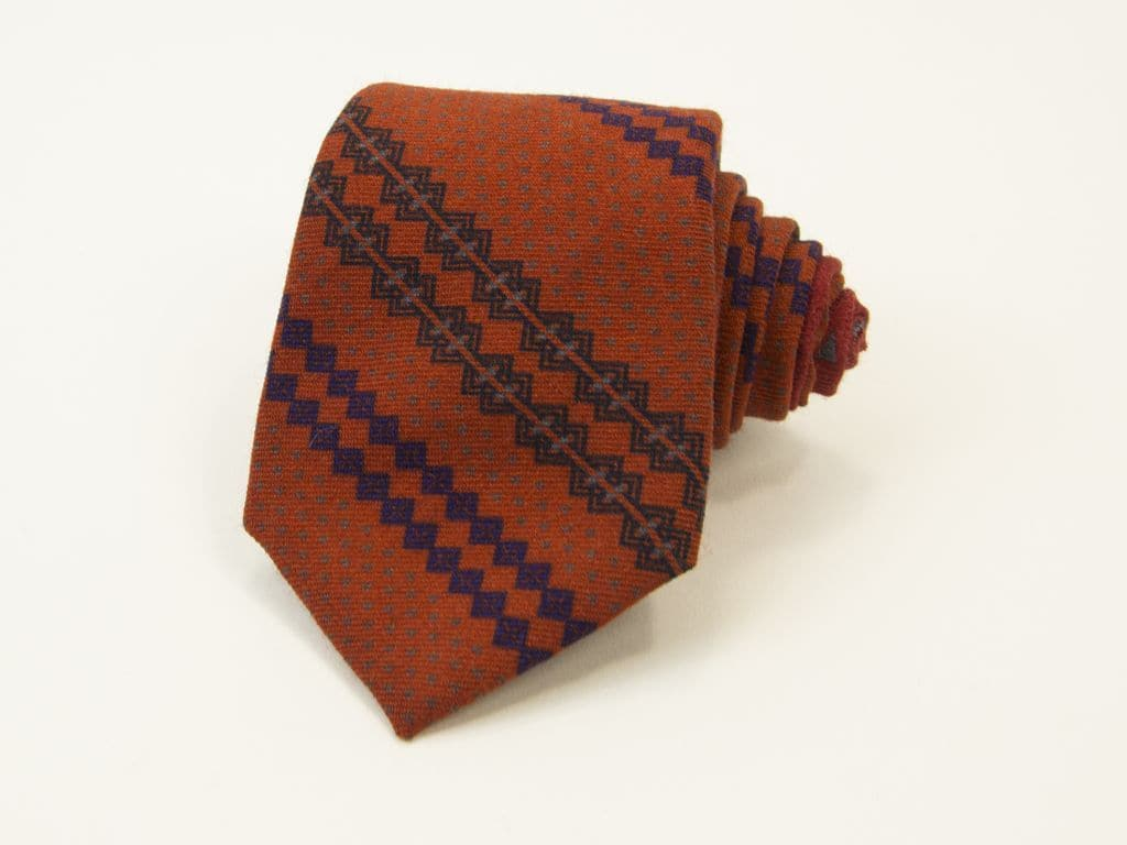 Fair Isle Printed Wool & Silk Tie