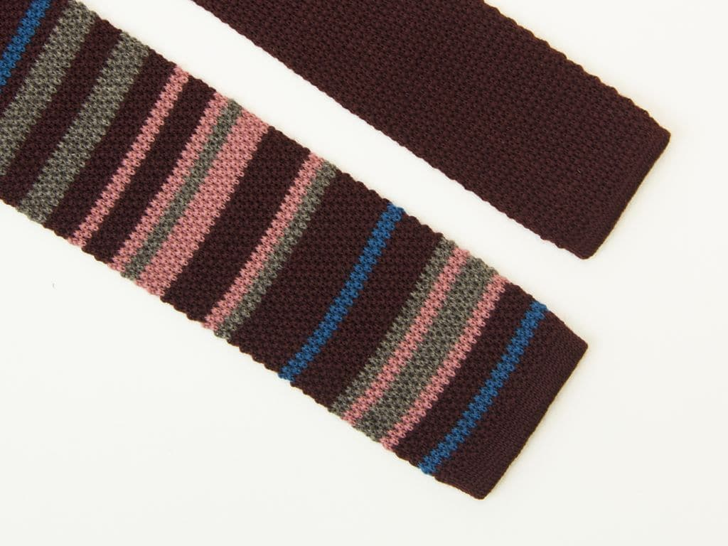 MULTIPLE STRIPES WOOL KNITTED TIE