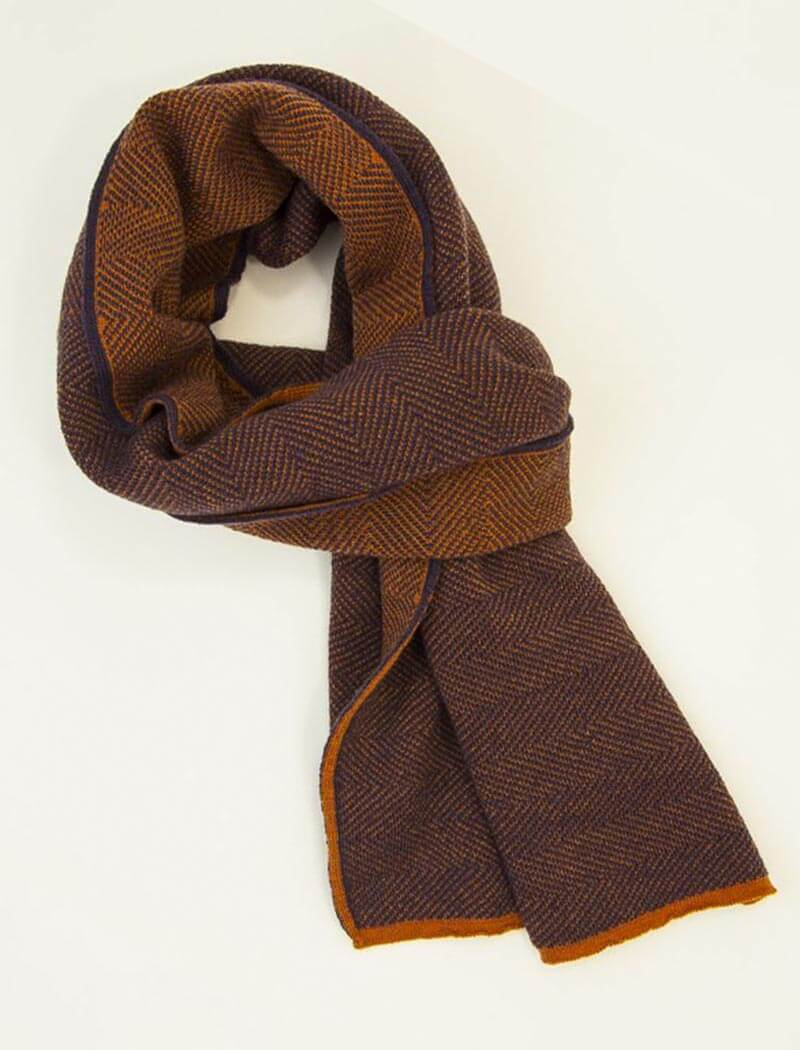 Orange & Purple Reversible Herringbone Wool Scarf | 40 Colori