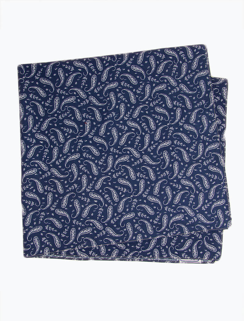 Navy Paisley Printed Cotton Bandana | 40 Colori