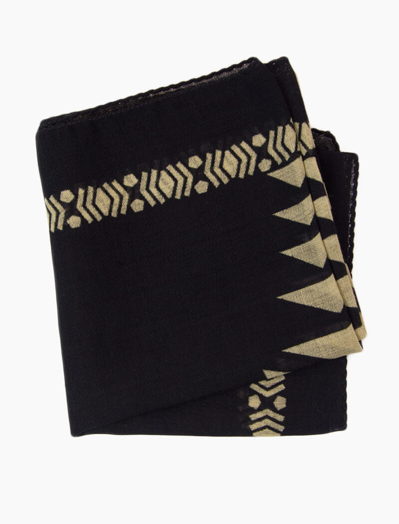 Black Aztec Printed Wool Bandana | 40 Colori