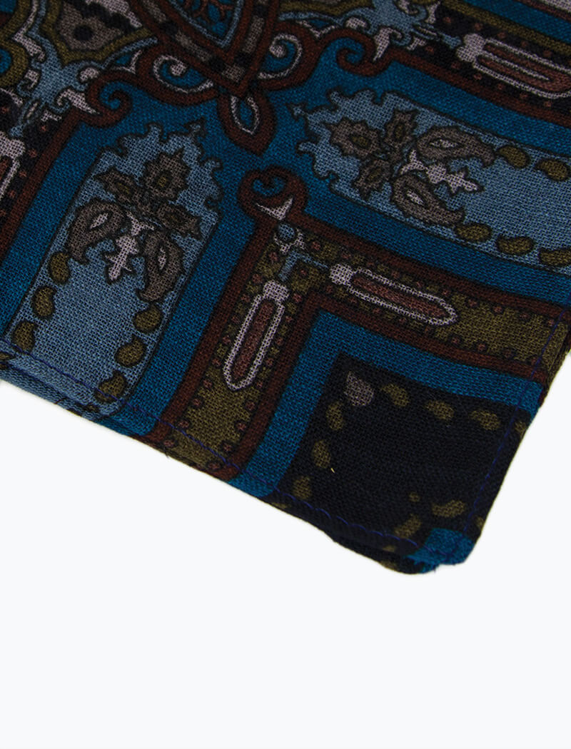 40 Colori - Made in Italy - Blue Vintage Paisley Printed Wool Bandana