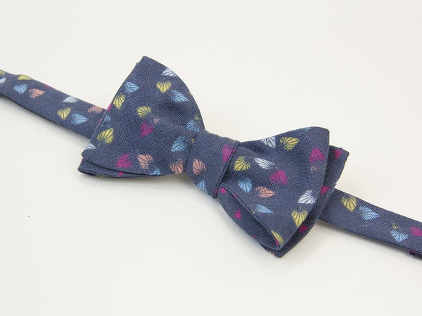 Birch Printed Linen Butterfly Bow Tie