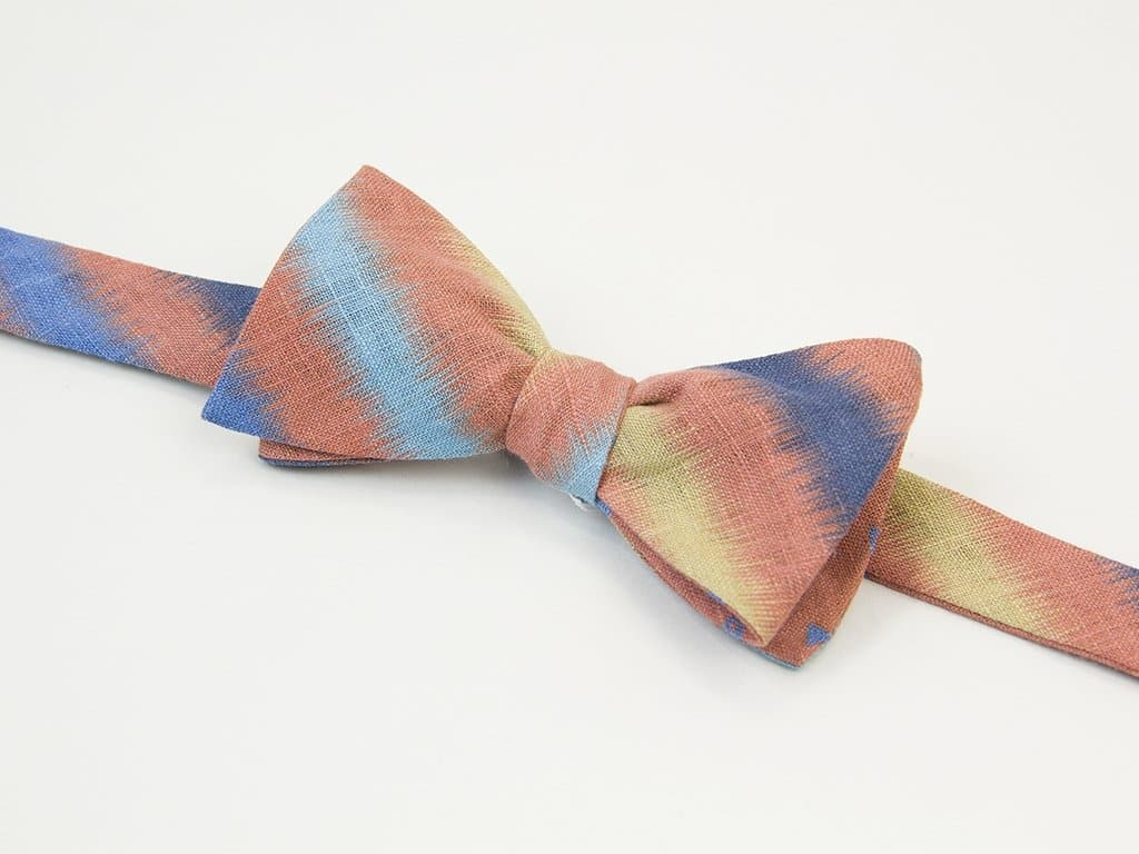 Auroras Printed Linen Butterfly Bow Tie