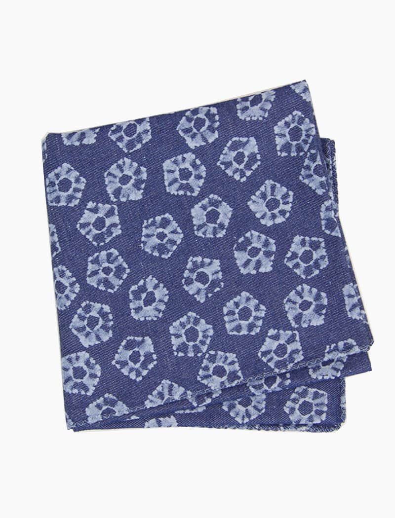 Flower Printed Denim Bandana