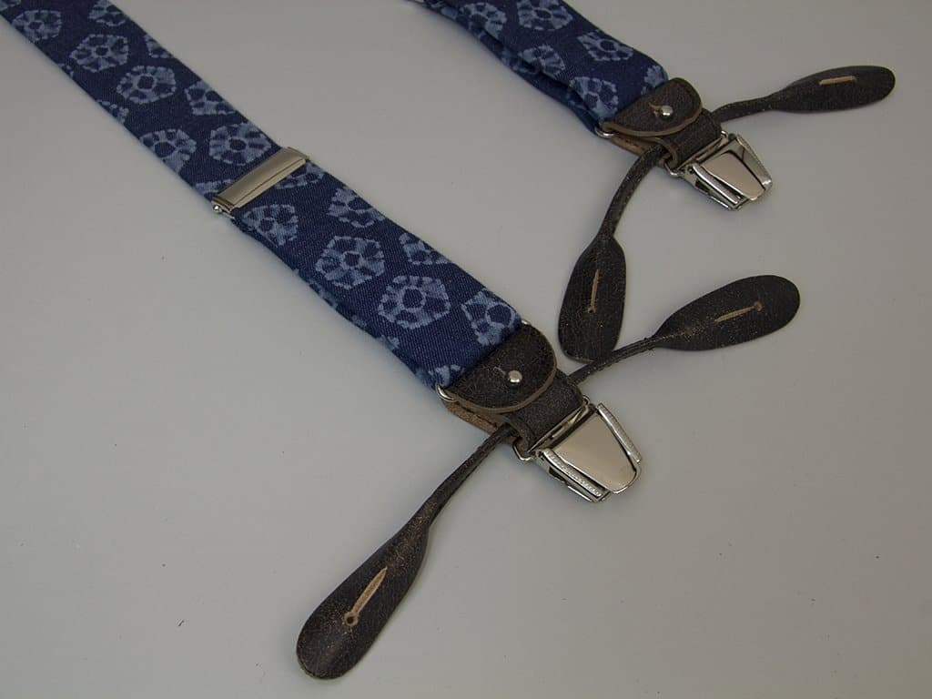 Flower Printed Denim Braces