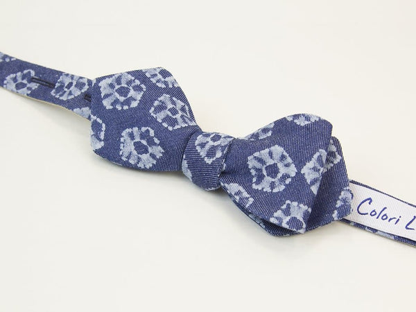 Flower Printed Denim Spencer Bow Tie