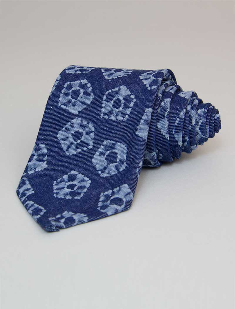 Flower Printed Denim Tie | 40 Colori