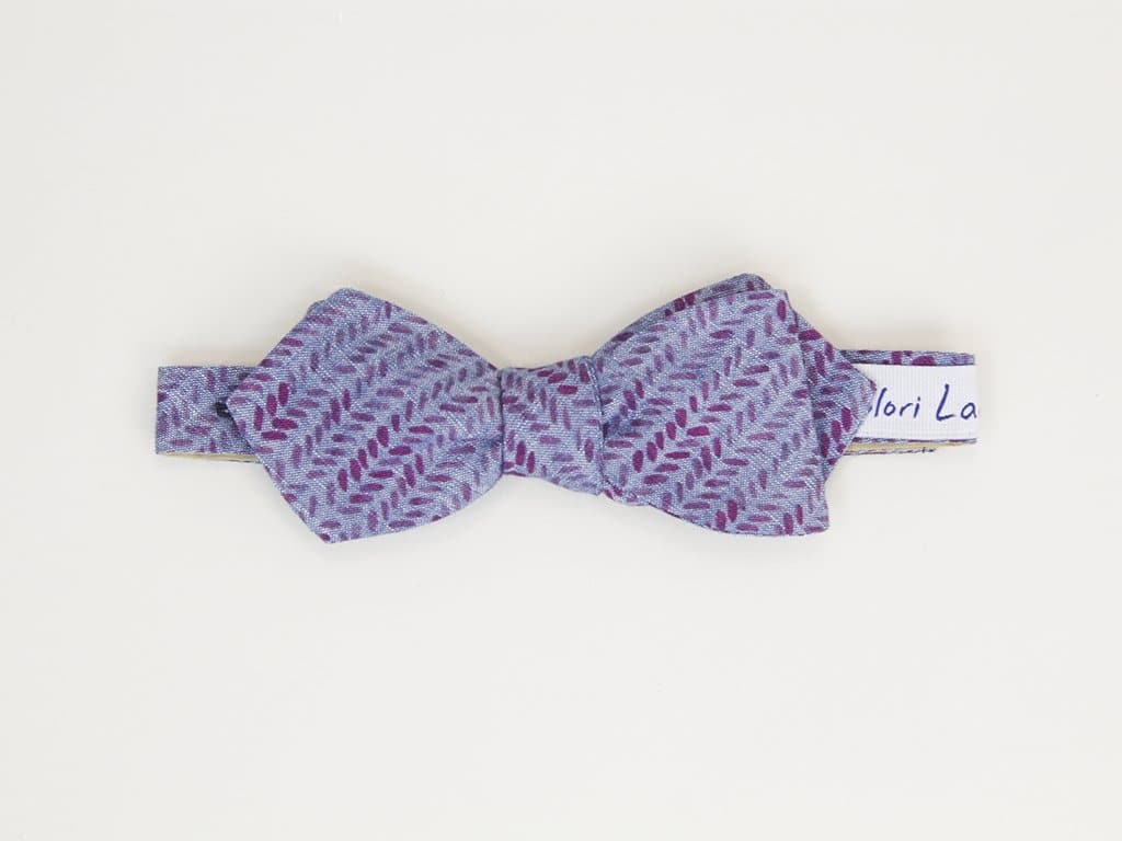 LEAVES PRINTED DENIM SPENCER BOW TIE