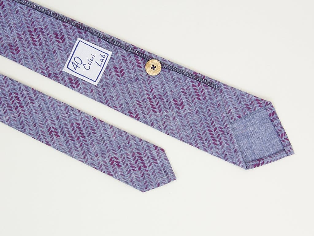 Leaves Printed Denim Tie