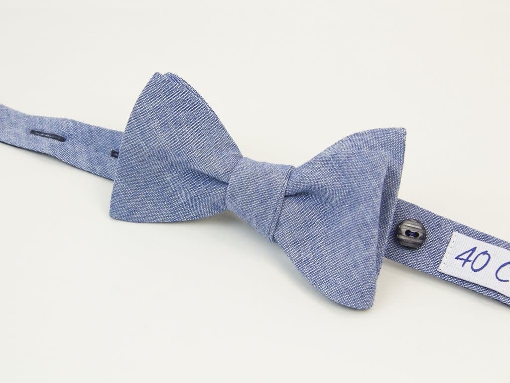 Solid Denim Butterfly Bow Tie
