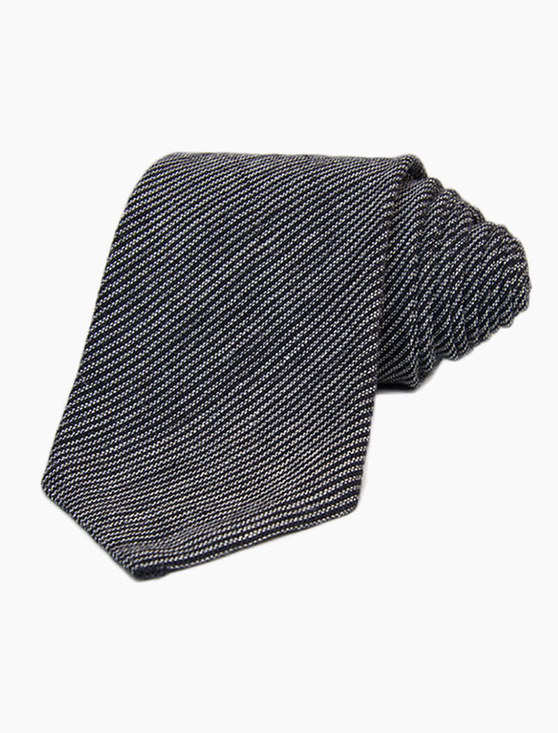 Black & Grey Striped Linen Tie