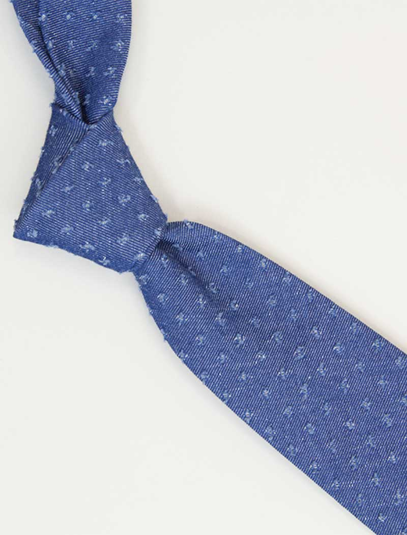 Raw Dotted Denim Tie | 40 Colori
