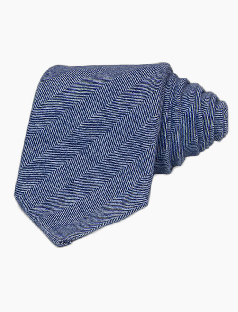 Light Blue Herringbone Cotton Tie