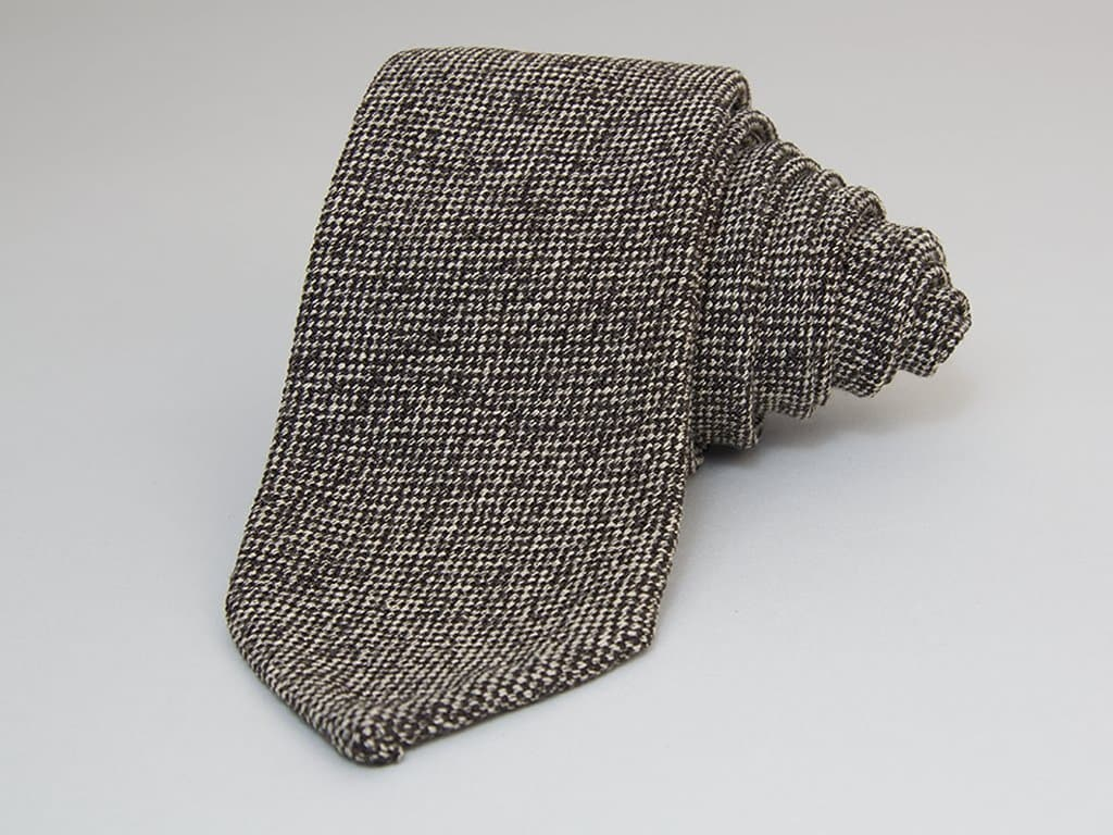 Dotted Brown Linen Tie