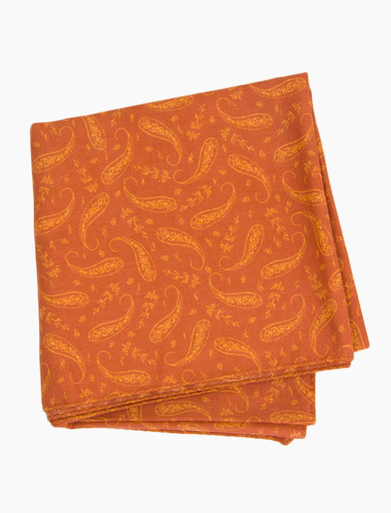 Rust Paisley Printed Cotton Bandana