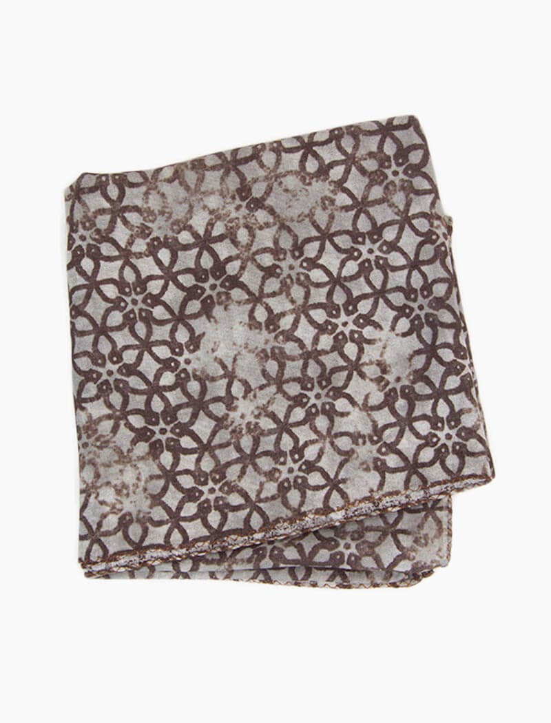 Brown Vintage Floral Printed Cotton Bandana | 40 Colori