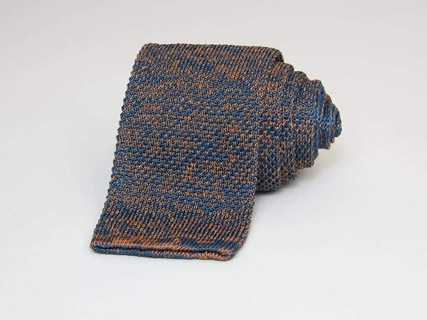 DOUBLE THREADED LINEN AND SILK KNITTED TIE