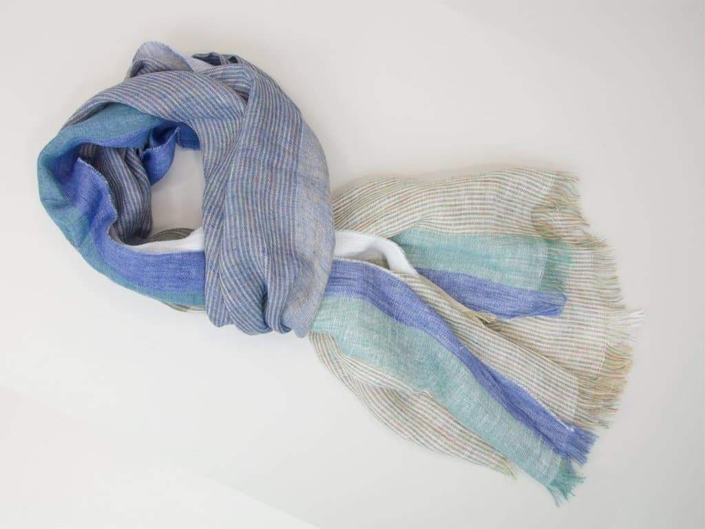 Multi Striped Fringed Linen Woven Scarf