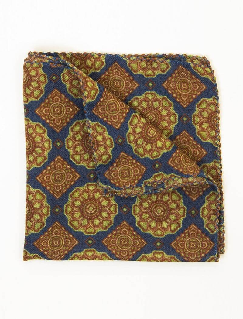 Blue Geometric Tiles Printed Wool Bandana | 40 Colori