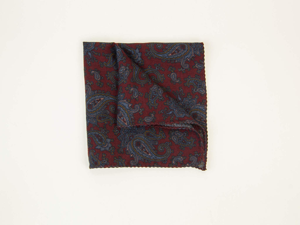 ANTIQUE PAISLEY WOOL & SILK POCKET SQUARE