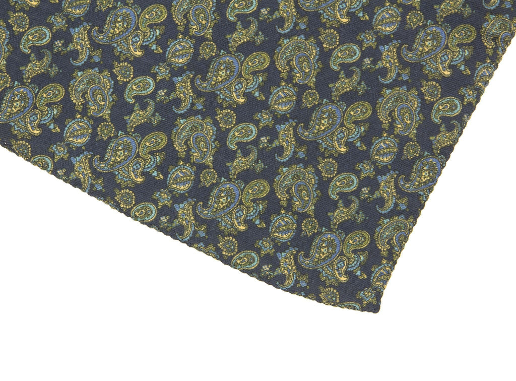SMALL ANTIQUE PAISLEY WOOL & SILK POCKET SQUARE