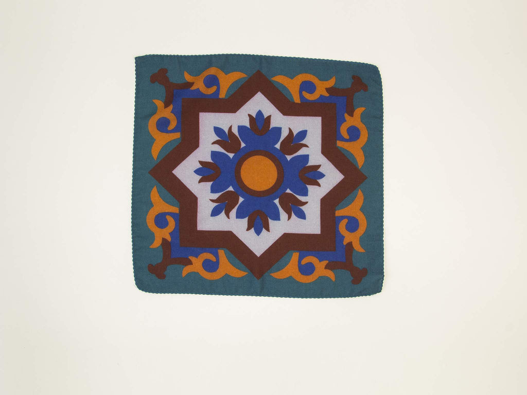 Sicilian Ceramic Wool & Silk Pocket Square