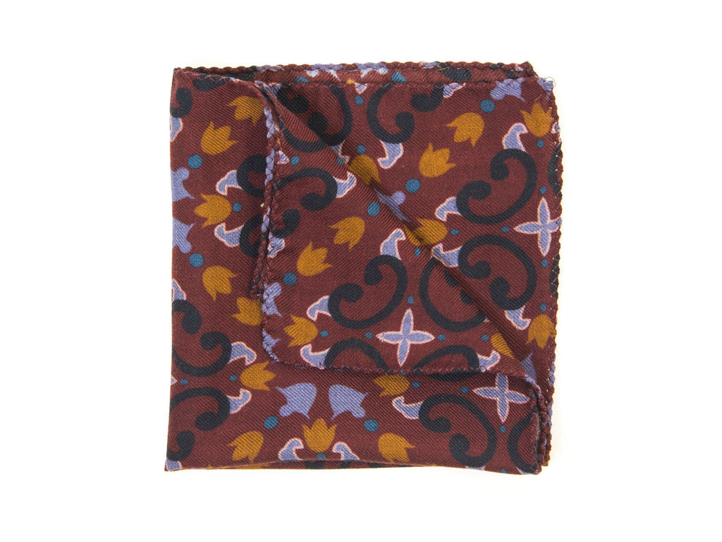 Sicilian Mosaic Wool & Silk Pocket Square