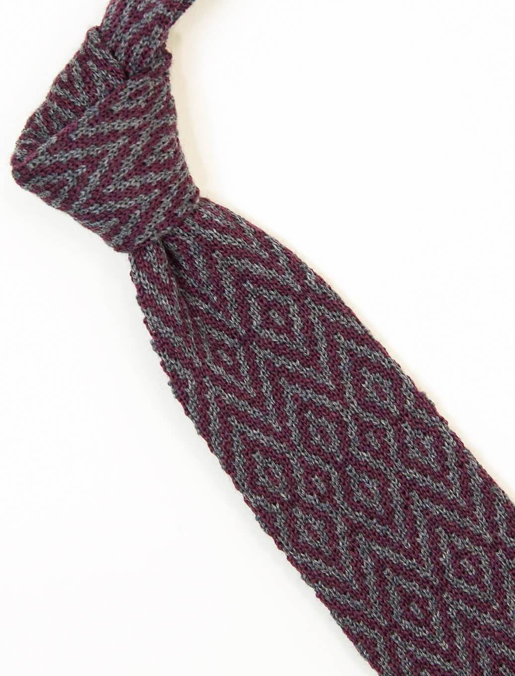 Grey Diamond Wool Jacquard Knitted Tie | 40 Colori