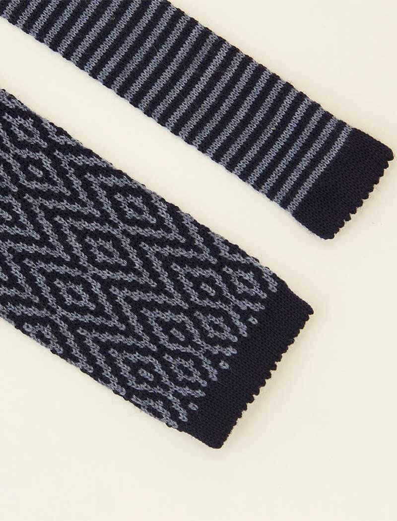 Blue Diamond Wool Jacquard Knitted Tie | 40 Colori