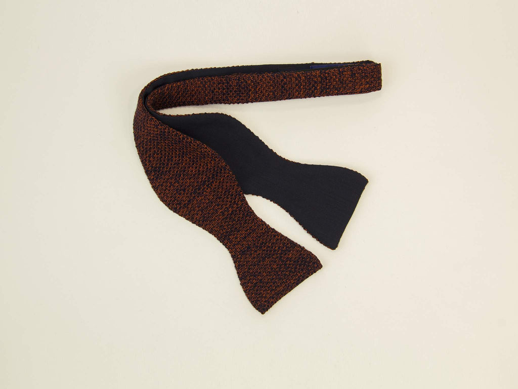 Melange Wool & Silk Knitted Buterfly Bow Tie