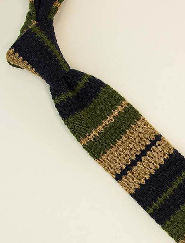 Striped Wool & Cashmere Knitted Tie
