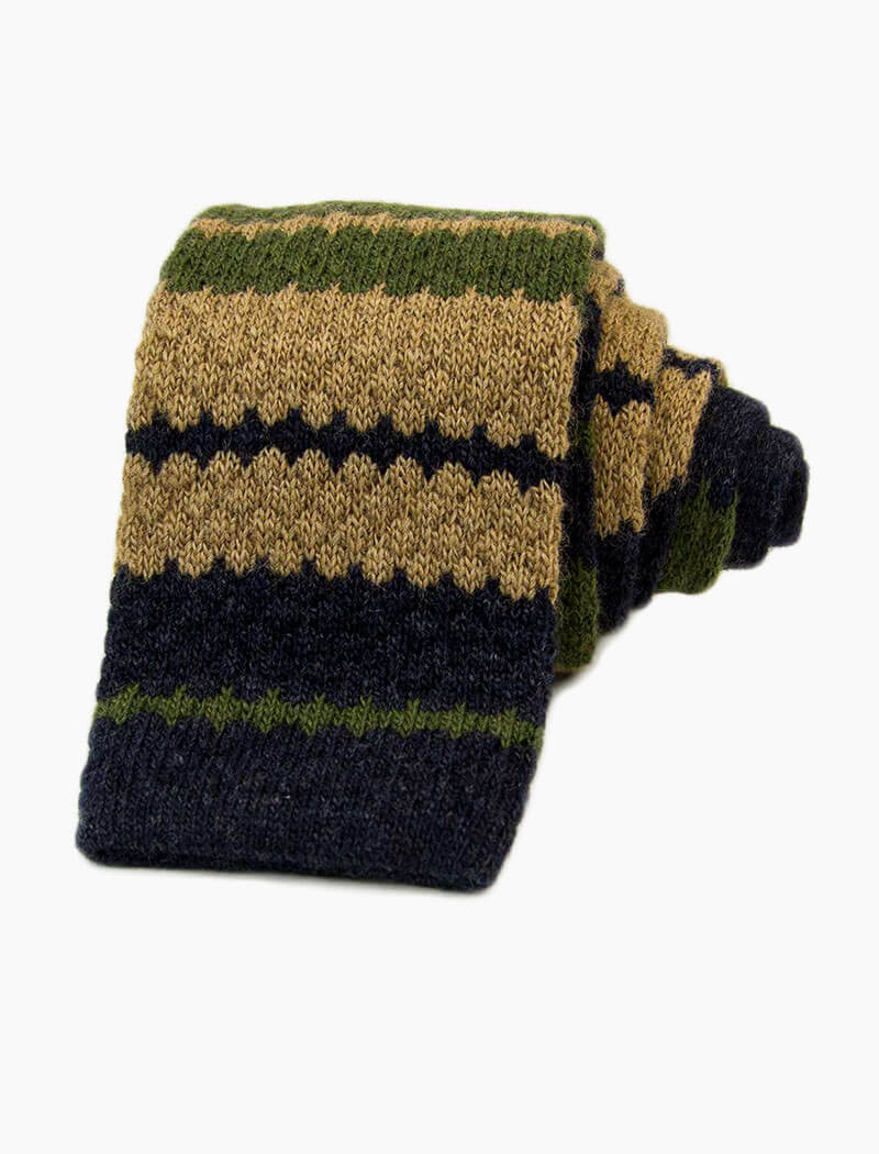 Olive Green Striped Wool & Cashmere Knitted Tie | 40 Colori