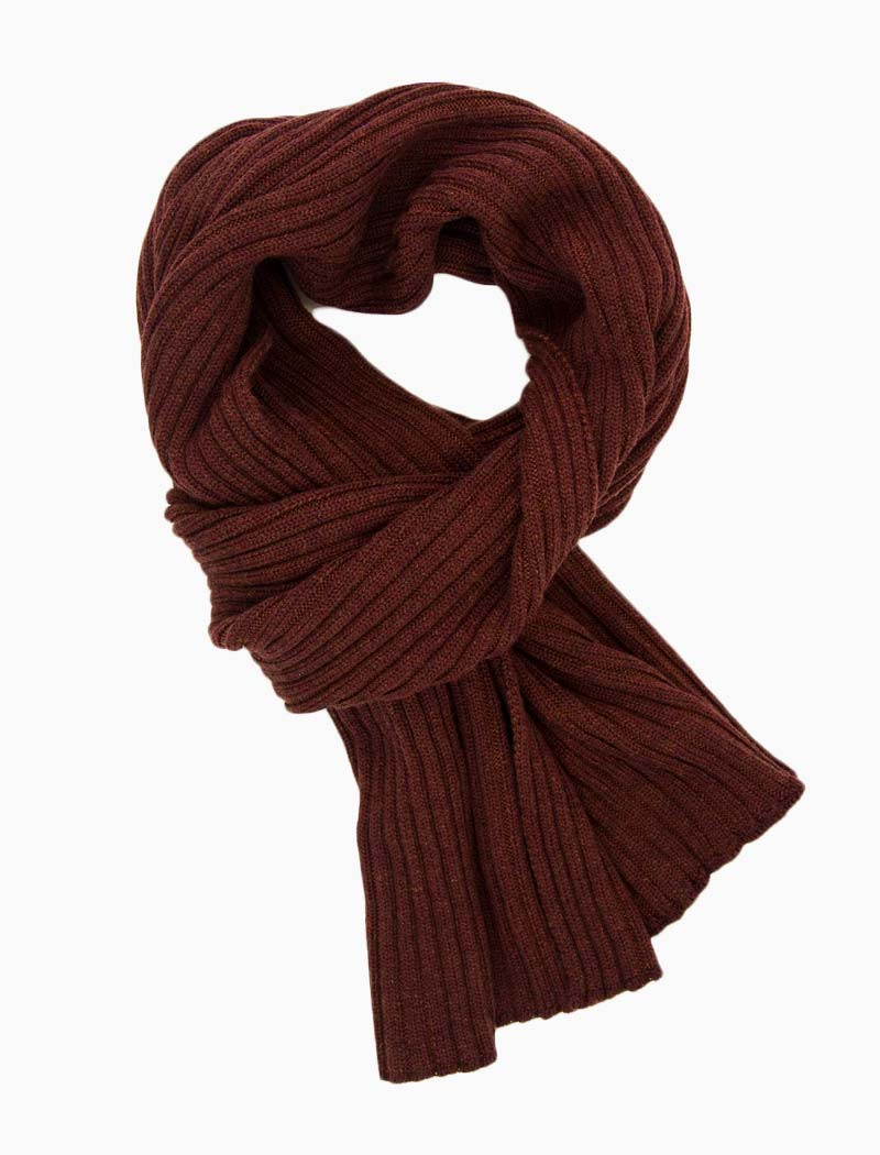 Brick Ribbed Wool Scarf | 40 Colori
