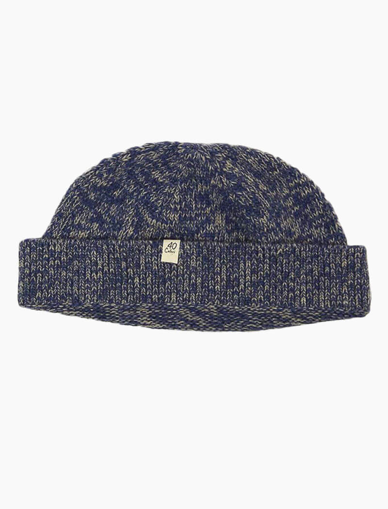 Denim Melange Wool & Cashmere Fisherman Beanie | 40 Colori
