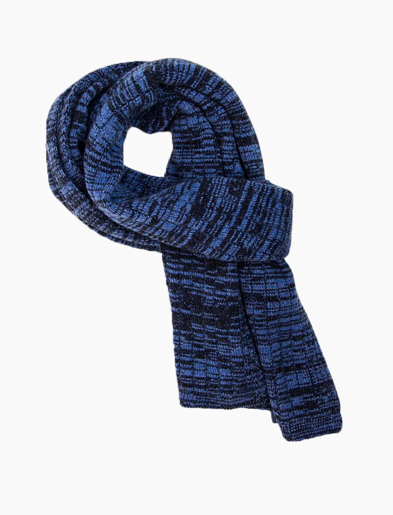 Blue Melange Wool & Cashmere Scarf | 40 Colori