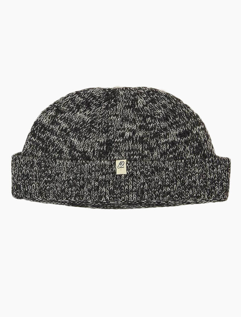 Charcoal Melange Wool & Cashmere Fisherman Beanie | 40 Colori