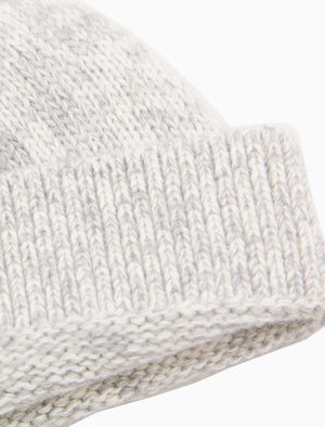 Light Grey Melange Wool & Cashmere Fisherman Beanie | 40 Colori