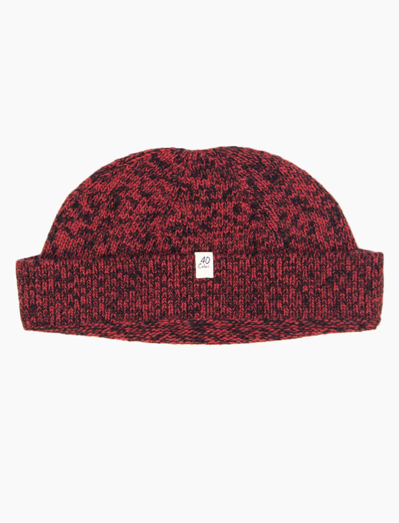 Red & Black Melange Wool & Cashmere Fisherman Beanie | 40 Colori