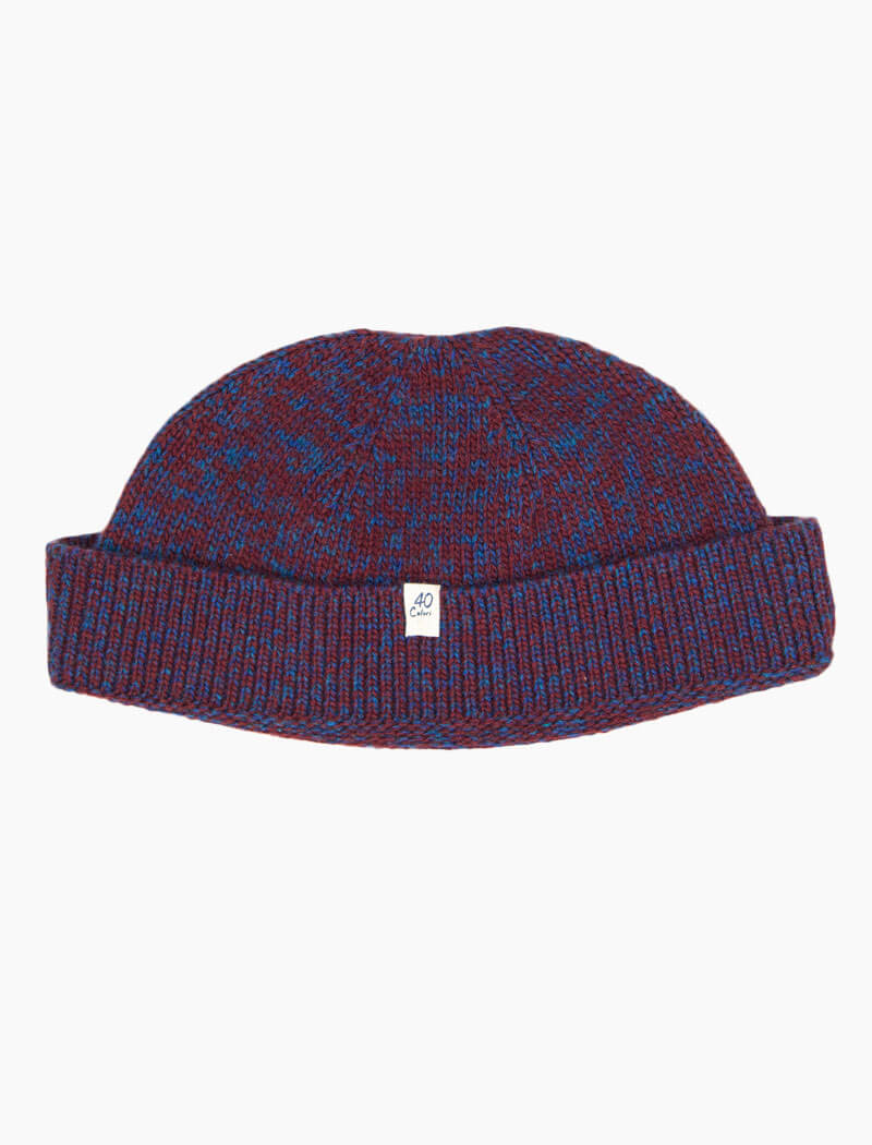 Red & Petrol Melange Wool & Cashmere Fisherman Beanie | 40 Colori