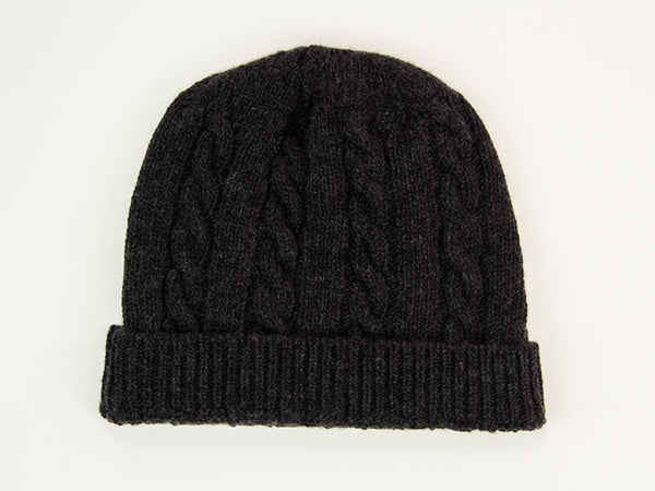 SOLID BRAIDED WOOL & CASHMERE BEANIE