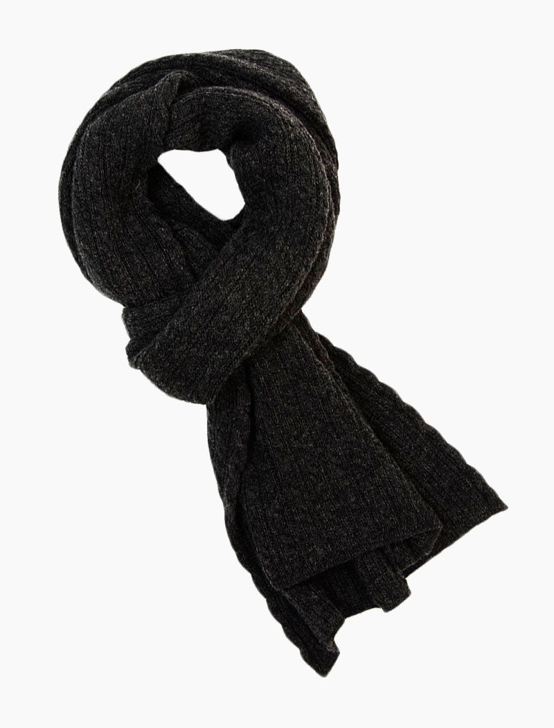 Charcoal Small Braided Wool & Cashmere Scarf | 40 Colori