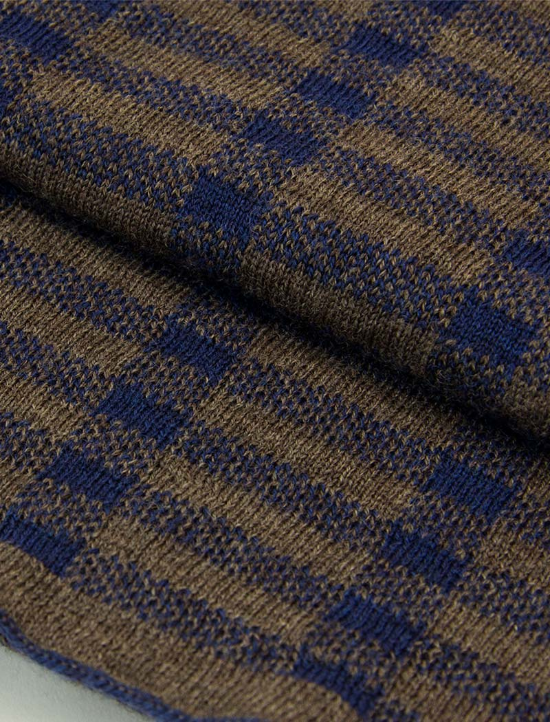Blue & Brown Geometric Wool Scarf | 40 Colori