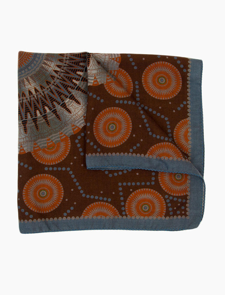 Medallion Printed Wool & Silk Bandana