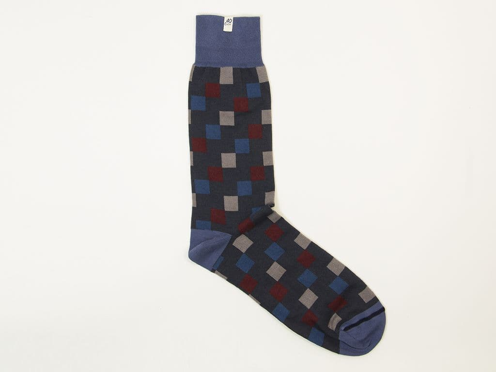 DIAGONAL SQUARES ORGANIC COTTON SOCKS